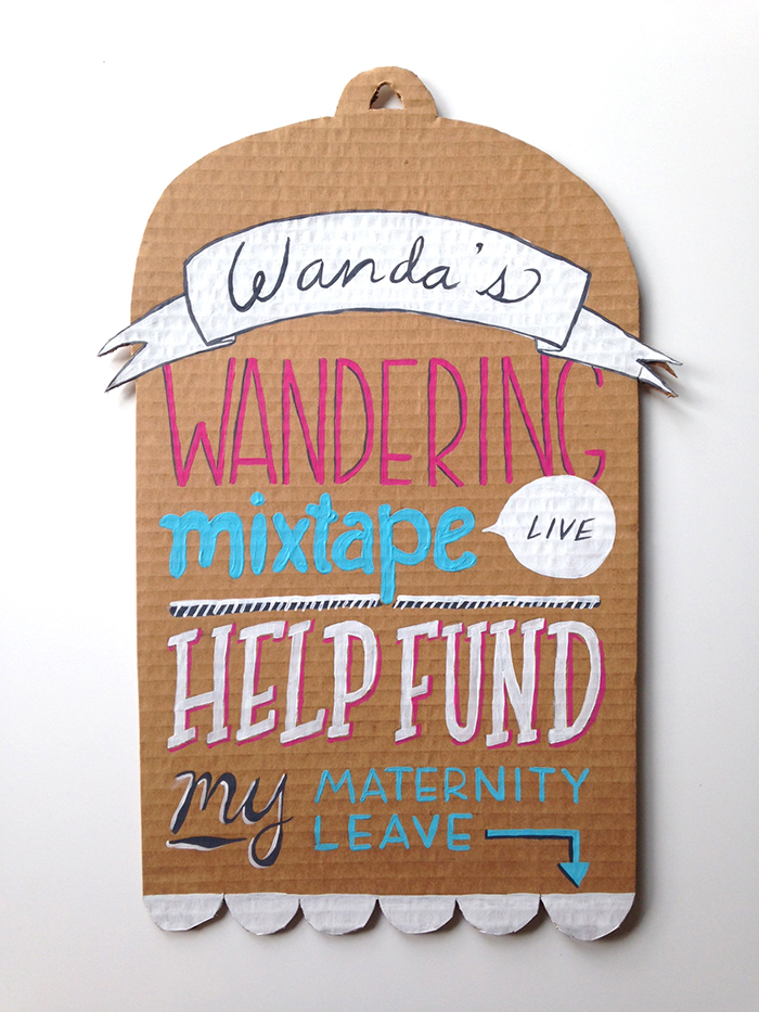 hand-lettered sign